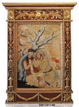 Traditional Vintage Persian Style Romantic Lovers Painting with Carved Golden Frame BF11-02131b