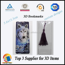 3d boomark/3d bookmarks eco-friendly PET/wolf design 3d bookmarks