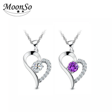 Wholesale Moonso 2017 New Fashion Heart Pendant Necklace 925 Sterling silver Jewelry AX795S