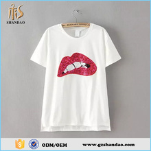 Guangzhou Shandao Women Summer New Arrival Short Sleeve Round Collar White 180g 35%Cotton 65%Polyester Custom Sequin T Shirts