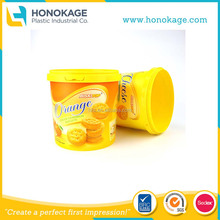 Round Biscuit Cup With IML Customized Printing Rigid Plastic Packagings Containers Tubs