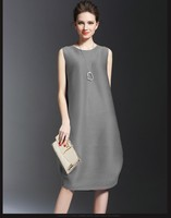 United States gray larger size plus fat women apparel solid crinkle comfortable casua wear dress