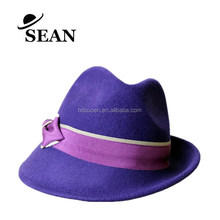 2017 Winter Women Fashion Dress Wool Felt Fedora Hat in Purple