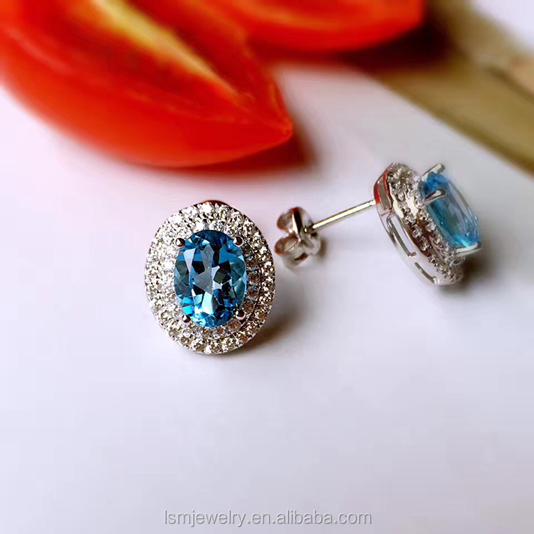 Blue topaz silver earring natural gemstone fashion jewelry 2017