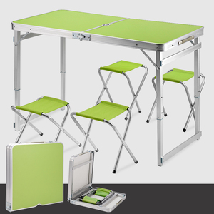 Portable Aluminium folding high top camping kids outdoor picnic table and chairs at bargain prices
