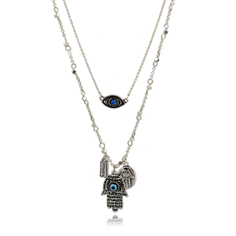 Halloween jewelry evil eye & hand pendant necklace ,multi-layer long chain charms necklace