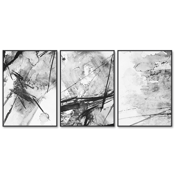 Modern Black and White 3 Art Sets Painting on Canvas
