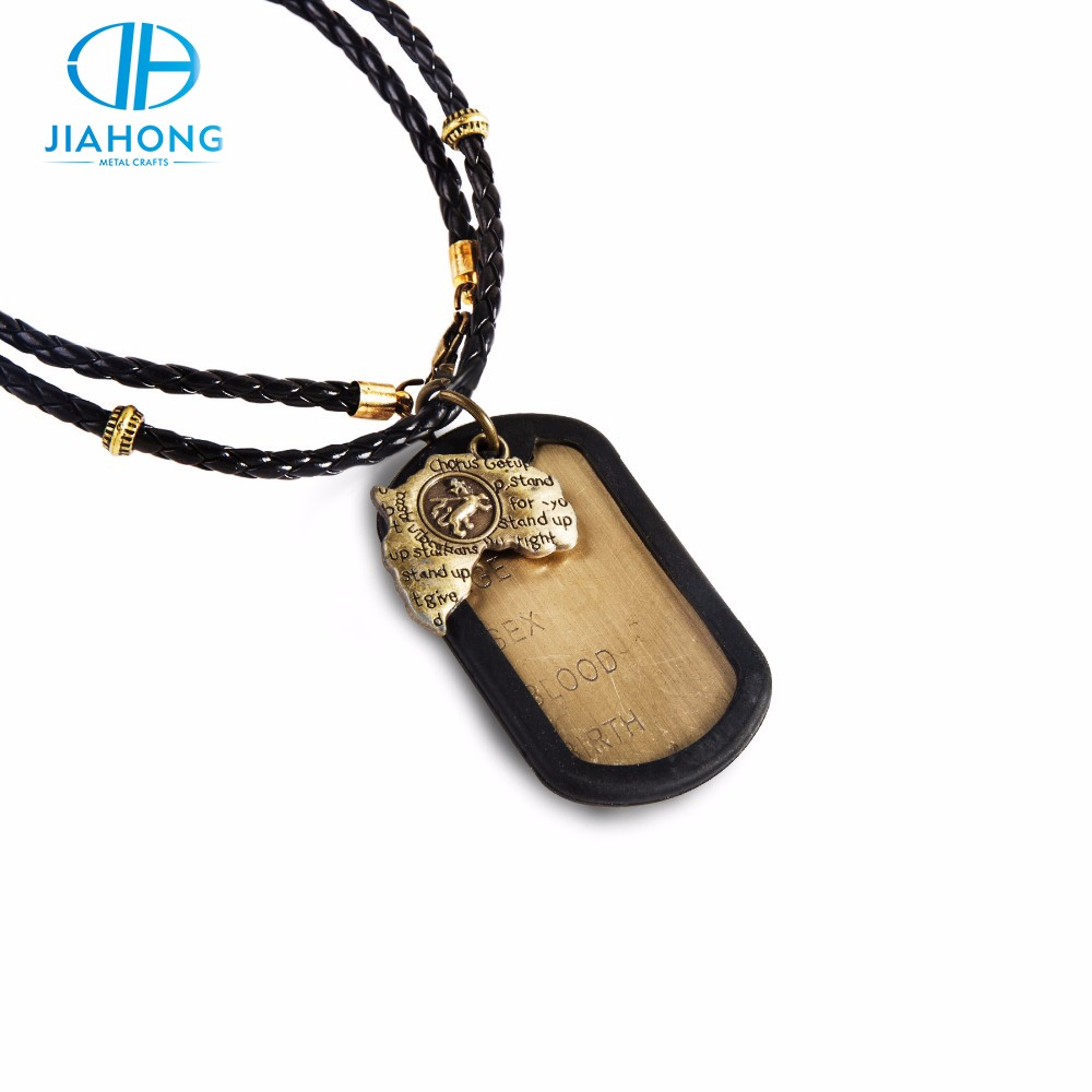 JiaHong custom old gold sublimation embossing dog tag for kids