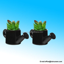 Set of 2 Mini Black Ceramic Watering Can Shaped Succulent Plant Holders / Decorative Flower Bud Vase