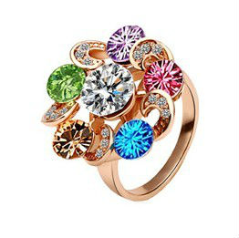 Fashion Latest Design Colorful Shinning Crystal Rings For Women