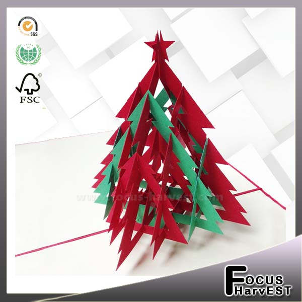 Christmas Tree Handmade card 3D pop up Red & Green Creative Kirigami & Origami Christmas Card