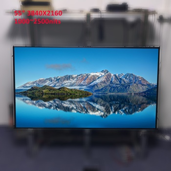 55 inch 4K 3840x2160 wide temperature outdoor high brightness sun-light readable display (1000~2500 cd/m2) with light sensor