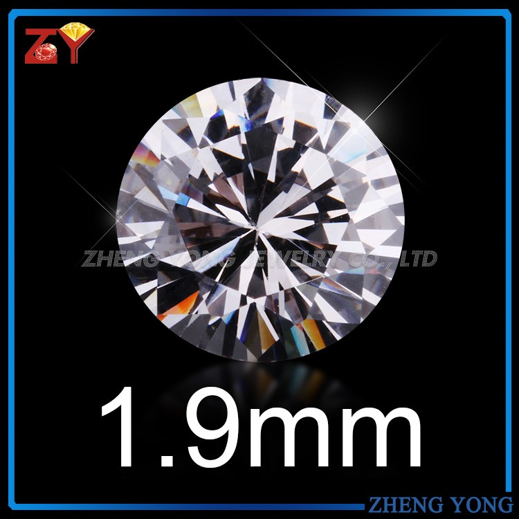 1.9mm Round Brilliant Cut 5A Synthetic Cubic Zircon Loose CZ <strong>Stone</strong> For Jewelry Making