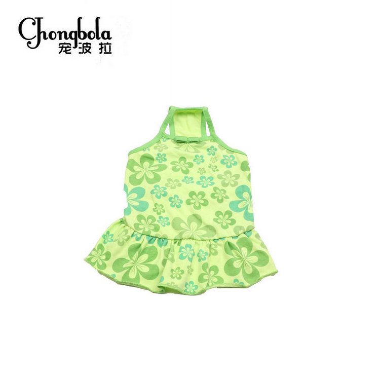 Low Price Promotion Fashion Pet Dog Clothes Green Floral Print Braces Dress of Dog