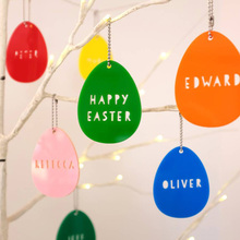 Custom Colored Acrylic Easter Egg Hanging Decorations with personalised word