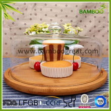 Bamboo Food Tray With Glass Cover for cake/biscuit/snacks