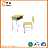 Cheap metal frame wooden primary school student desk and chair on sale