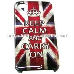 Fashion cheap uk flag and Keep calm and carry on words print hard plastic mobile case cover