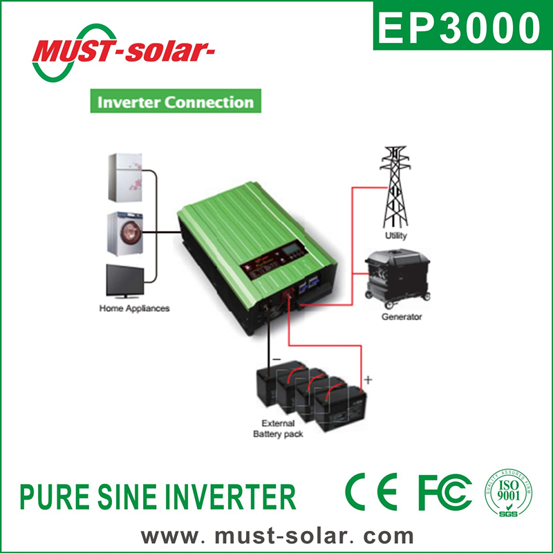 < Must Solar> EP3000 Series pure sine wave intelligent dc to ac power inverter with battery charger