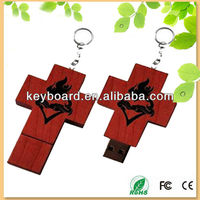 natural handmade wood cross usb flash drive