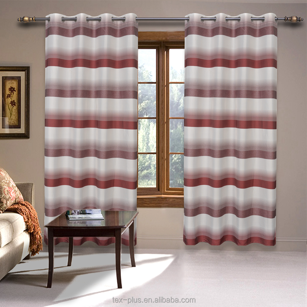 Nice Matching horizontal stripe dining room window curtains