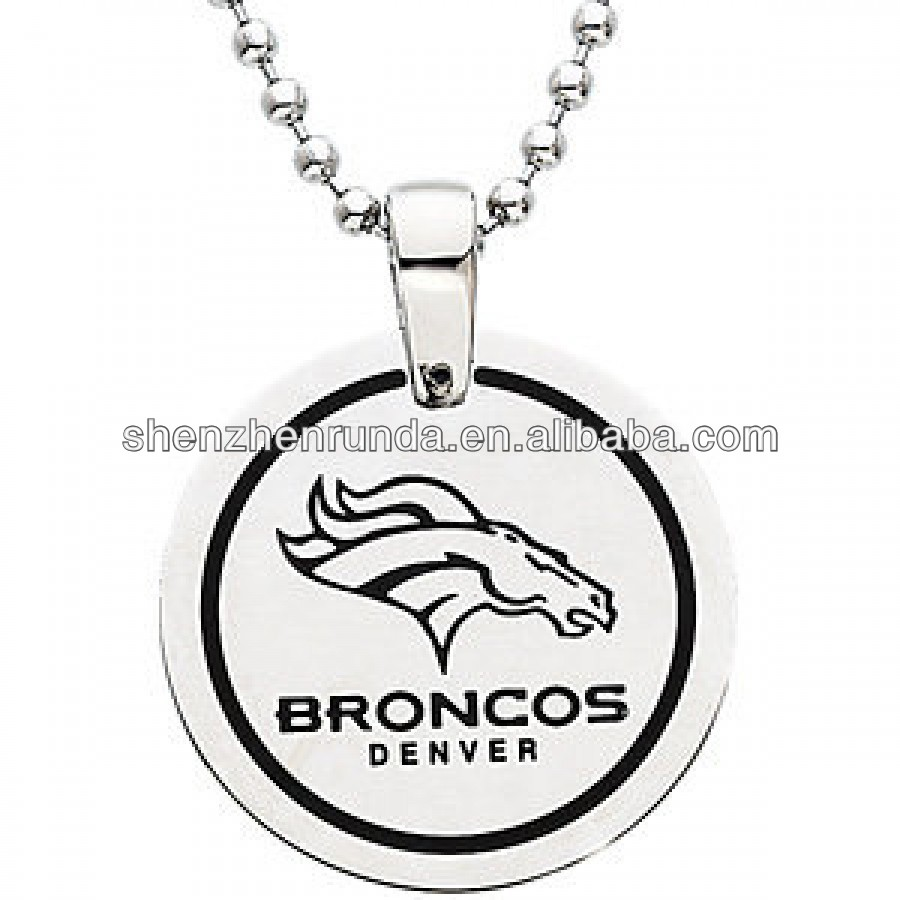 2014 Hot Item Stainless Steel Denver Broncos NFL Pendant Dog Tag Jewelry