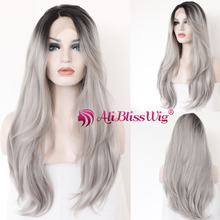 Overnight Delivery Long Straight Side Part Colored Two Tone Ombre Silver Mixed Grey Heat Resistant Synthetic Hair Lace Front Wig