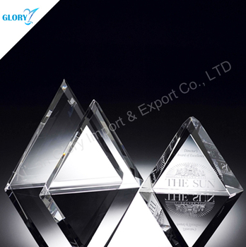 High quality triangle AAA K9 crystal trophy award