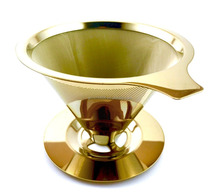 Gold Stainless Steel Coffee Filter with Cup Stand, Permanent Reusable Paperless Hand Drip Pour Over Coffee filters