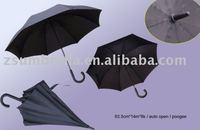 straight auto open wind resistant umbrella end cap, embroidered umbrella