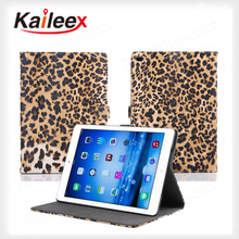 Factory Price Leopard Pattern Flip Down For Ipad Air2 Leather Case