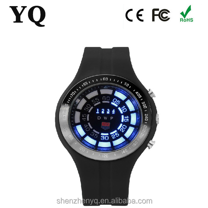 TVG Men's Black Silicone Blue Light LED Watch Rubber Blue Binary LED Watch Mens Diving Sport Clock 30M Waterproof Watch