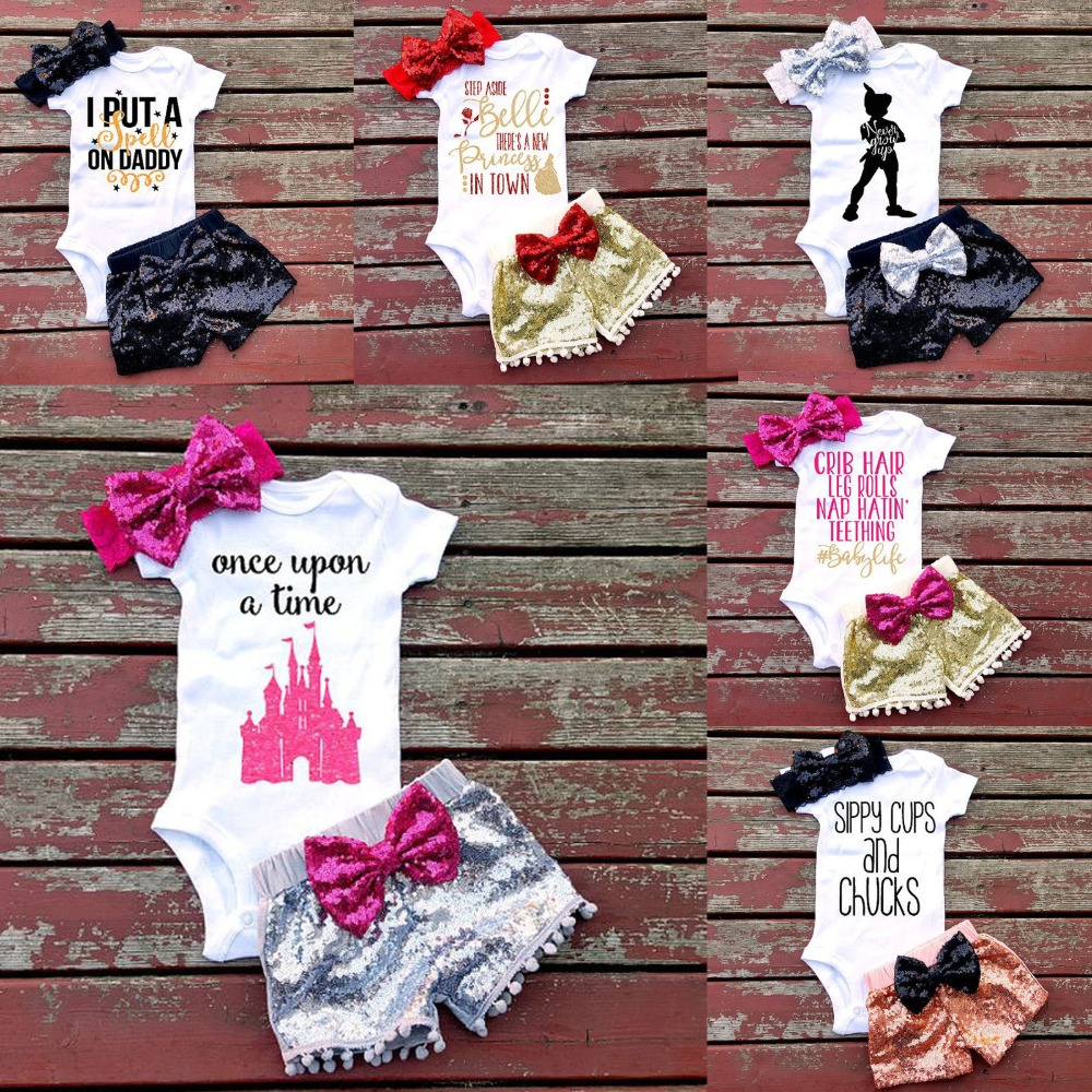 New Baby Romper Suit 100% Cotton Short Sleeve Cartoon Romper+Pants+hairband Toddlers 3Pcs Romper Sets