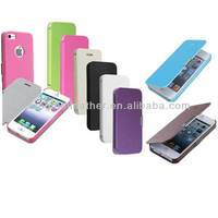 Colorful Leather Hard Back Case Flip Folio Pouch Cover For Apple iPhone 5S 5C