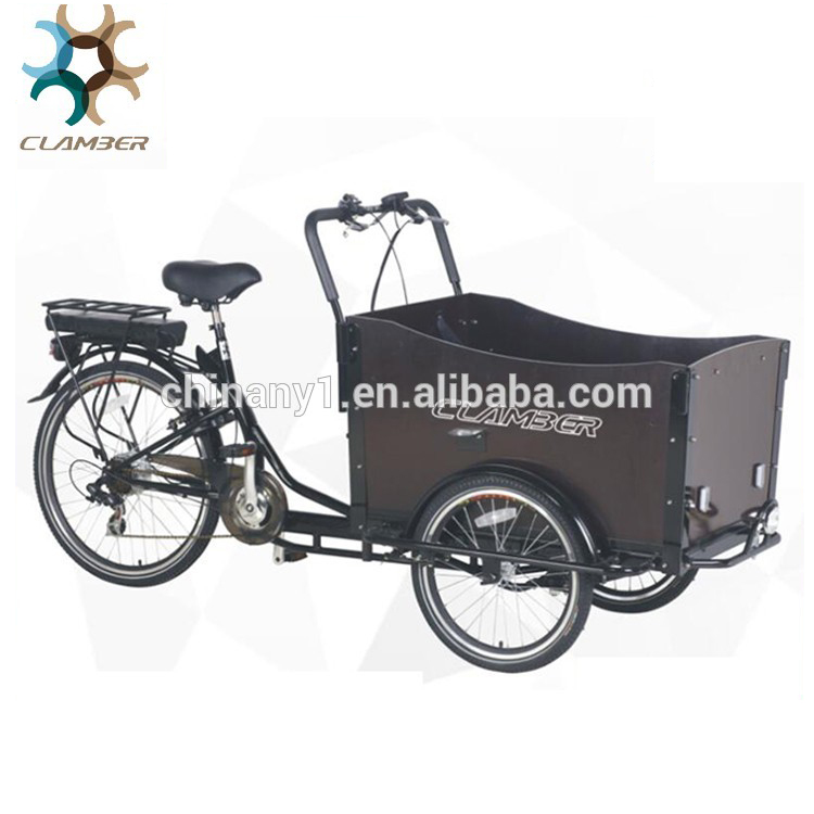 "e cargo bike 3 wheels 6 speeds 36V 9AH 250W high carbon steel frame double v brake standard wheel size 20""26"" ub 9019e"