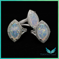 Gemstone Wholesale marquise shape white synthetic fire opal rings jewellery