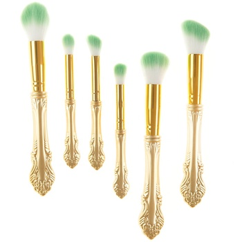 New Arrival Plastic Handle Cheek 6pcs Green Sword Makeup Brush Set