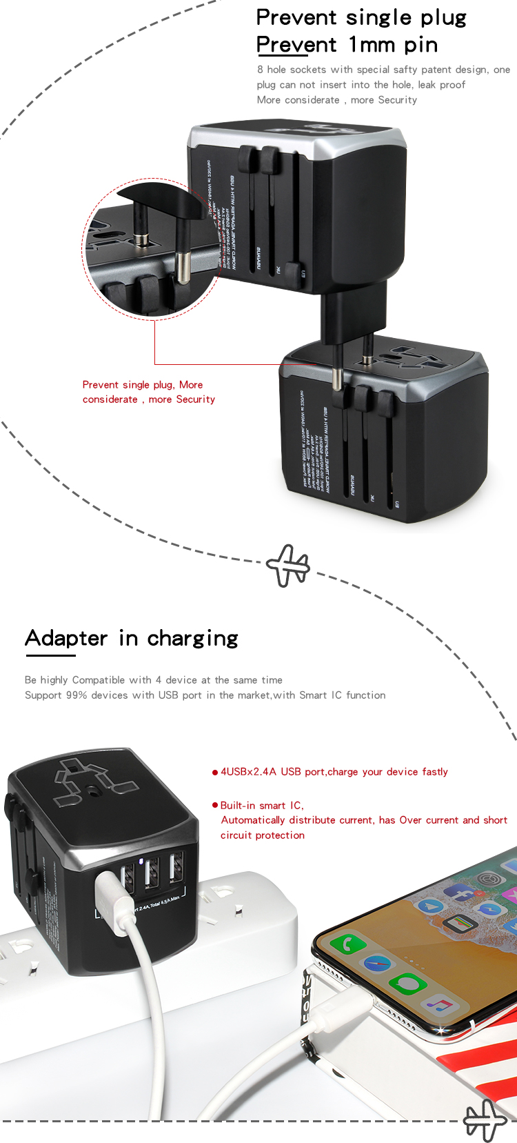 Hot koop universele travel adapter wereld adapter socket multi plug 5 v usb charger