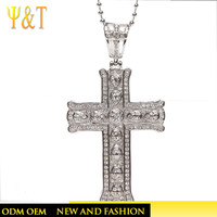 Wholesale hip hop stainless steel pave crystal corss pendant necklace