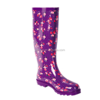 ladies fashion flower print antiskid PVC rain boots OEM wellington 2016 women flat shoes