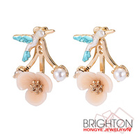 Flying Bird And Flower Stud Earrings High-end Jewelry E4-10841A-1650