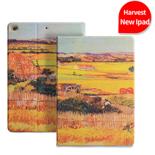 Retro Painting Premium Pu Leather Smart Case for Ipad Air, Folio Stand Cover Case for Ipad Air1 2 Lightweight