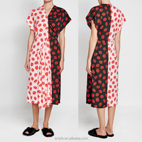 Latest design casual wear fashion V neck short sleeves red florals printed asymmetric women dress