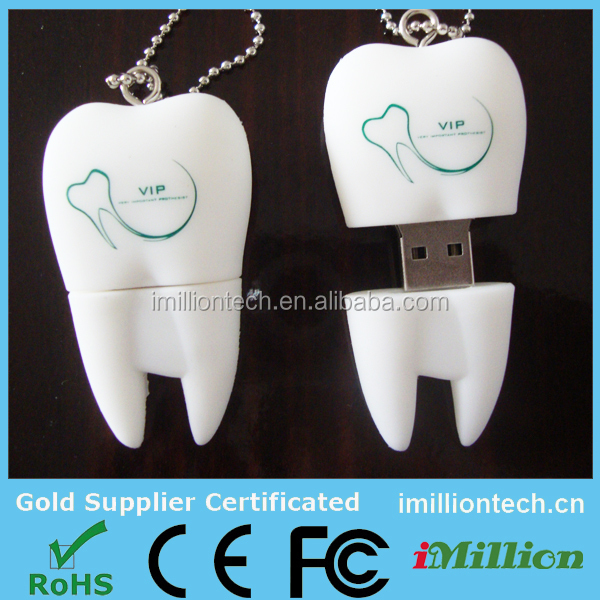 Promo dental gifts customized pvc tooth shape usb pen drive (U6088-SP)