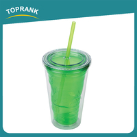 Toprank Custom Printed Popular Style Reusable Clear Plastic Cup Double Wall Drinking Coffee Plastic Cup With Straw