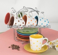 90cc polka dot design coffee cup and saucer