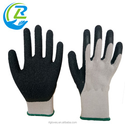 10 gauge knitted polycotton dipping black latex finger cut gloves for safety protection