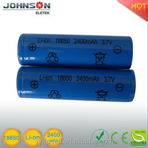 lithium polymer battery teh recharge battery for 18650 3.7v 2400mah battery