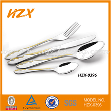 stainless steel gold plated hotel cutlery set