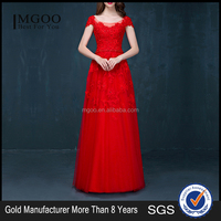 MGOO Cheap Price Wholesale Red Lace Long Prom Dress Ladies Elegant Chiffon Evening Dinner long Dresses Handmade 2040